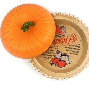 Ceramic Pumpkin Pie Recipe plate w/ pumpkin cover